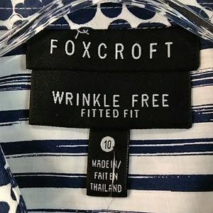 Foxcroft Tops - Foxcroft navy print 3/4 sleeve blouse 10 NWT